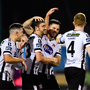 19 October 2018; Patrick Hoban of Dundalk, second right, is congratulated by team-mates after scoring his side's fourth goal during the SSE Airtricity League Premier Division match between Dundalk and Sligo Rovers at Oriel Park in Dundalk, Louth. Photo by Seb Daly/Sportsfile