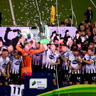 19 October 2018; Dundalk players celebrate with the trophy after winning the SSE Airtricity League Premier Division following the SSE Airtricity League Premier Division match between Dundalk and Sligo Rovers at Oriel Park in Dundalk, Louth. Photo by David Fitzgerald/Sportsfile ***NO REPROUDCTION FEE***