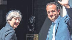 Deadline: Taoiseach Leo Varadkar meets British Prime Minister Theresa May at 10 Downing Street. Photo: Dominic Lipinski/PA Wire