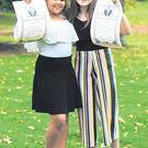 Keisha Moloney, left, and Krista Valteris at the National Bravery Awards at Farmleigh House, Phoenix Park, Dublin