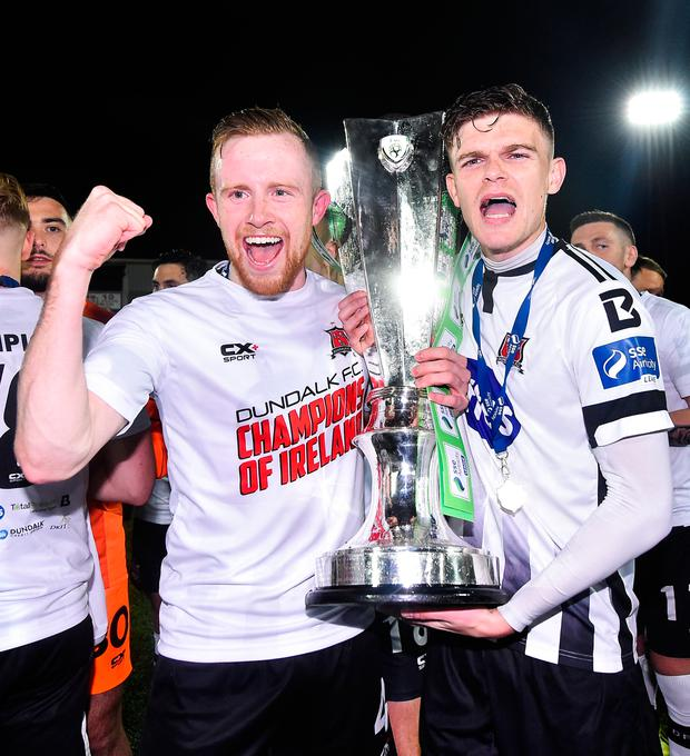 Sean Hoare, left, and Sean Gannon of Dundalk celebrate winning the SSE Airtricity League Premier Division. Photo: Sportsfile