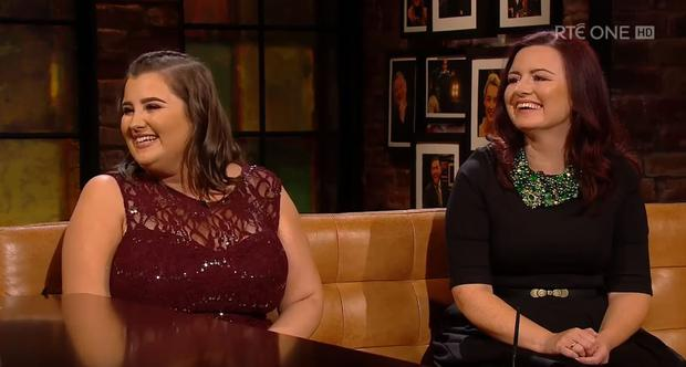 Shauntelle Tynan and her mother Leona on last night's Late Late Photo: RTE