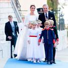 Duchess Sophie of Wurtemberg arrives at the Saint-Quirin Church prior her wedding with her father, Prince Philip of Wurtemberg at the Castle of Tegernsee on October 20, 2018 in Tegernsee, Germany. (Photo by David Niviere/Getty Images)
