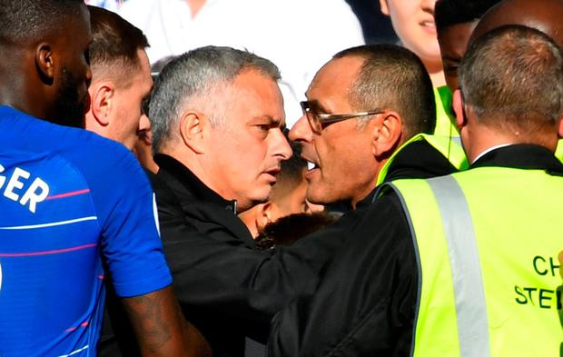 Jose Mourinho restrained in late Stamford Bridge fracas