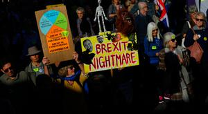 Protesters participating in an anti-Brexit demonstration march through central London, Britain October 20, 2018. REUTERS/Simon Dawson