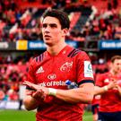 Joey Carbery of Munster acknowledges the crowd following the Heineken Champions Cup Round Pool 2 Round 2 match between Munster and Gloucester at Thomond Park, in Limerick. Photo by Sam Barnes/Sportsfile