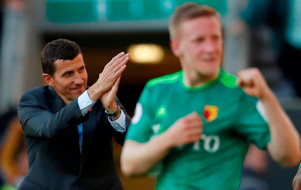 Watford manager Javi Gracia and Will Hughes applaud the fans after the match Action Images via Reuters/Andrew Boyers