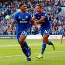 Cardiff City's Kadeem Harris celebrates scoring their fourth goal with Bobby Reid