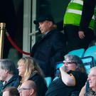 England head coach Eddie Jones in the stands during the Heineken European Champions Cup match at the Ricoh Arena