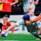 Dominic Bird of Racing 92 goes over to score his side's second try despite the efforts of Rory Best of Ulster during the Heineken Champions Cup Pool 4 Round 2 between Racing 92 and Ulster at Paris La Defence Arena, in Paris, France. Photo by Brendan Moran/Sportsfile