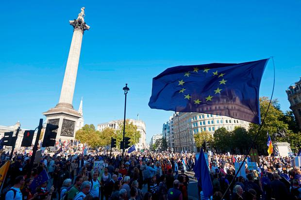 PROTEST: A European flag flutters in the breeze at Trafalgar Square in a march calling for a People's Vote on the final Brexit deal in central London yesterday. Photo: Niklas Halle'n/AFP/Getty Images