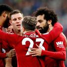 Liverpool's Mohamed Salah celebrates scoring their winner