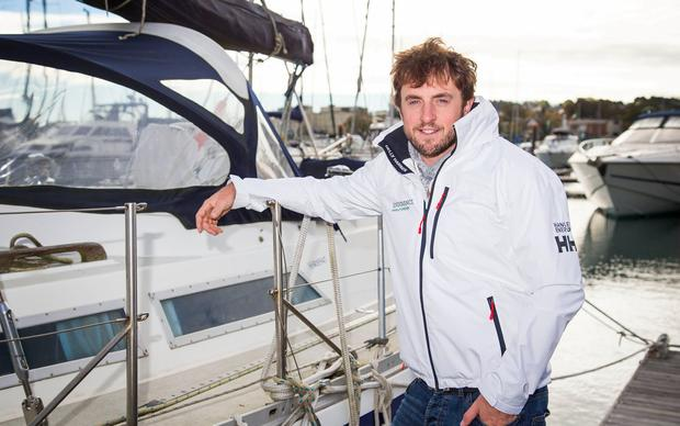 BACK HOME: Round the world yachtsman Gregor McGuckin at Malahide Marina yesterday after surviving near disaster in the Indian Ocean. Photo: Colin O'Riordan