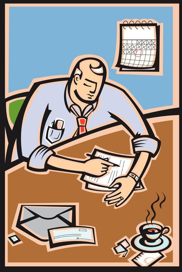 Vector illustration of a man filling out paperwork to send in for taxes.