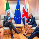 Leo Varadkar and Theresa May at a bilateral meeting in Brussels. Photo: Taoiseach Government/PA Wire
