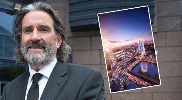Johnny Ronan (inset the proposed building)