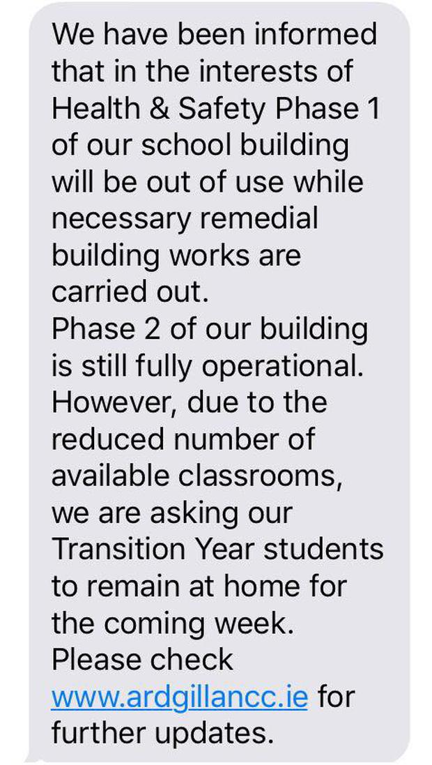 Text received by parents