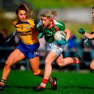 Cora Staunton of Carnacon in action against Emma Lowther of Knockmore during the Mayo County Senior Club Ladies Football Final match between Carnacon and Knockmore at Kilmeena GAA Club in Mayo. Photo by David Fitzgerald/Sportsfile