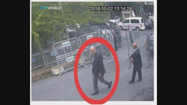 CCTV video obtained by the Turkish broadcaster TRT World purportedly showing Jamal Khashoggi entering the Saudi consulate in Istanbul. (CCTV/TRT World via AP)