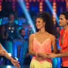 Tess Daly with contestants Vick Hope and Graziano Di Prima (Guy Levy/PA)