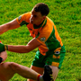Corofin's Ronan Steede was sent off for a high tackle early in the second half. Photo: Sportsfile