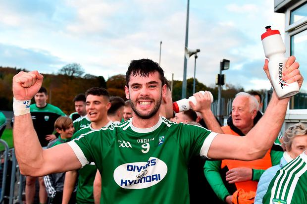Man of the match Odhran MacNaillais celebrates Gaoth Dobhair's victory. Photo: Oliver McVeigh/Sportsfile
