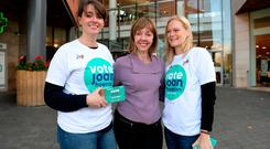 Campaign trail: Presidential candidate Joan Freeman with her daughter Aislinne (left) and Aislinne's partner Marieke Altena at the Pavilions Shopping Centre in Swords. Photo: Caroline Quinn