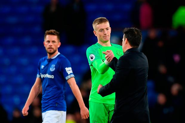 Jordan Pickford celebrates with Everton manager Marco Silva. Photo: Getty