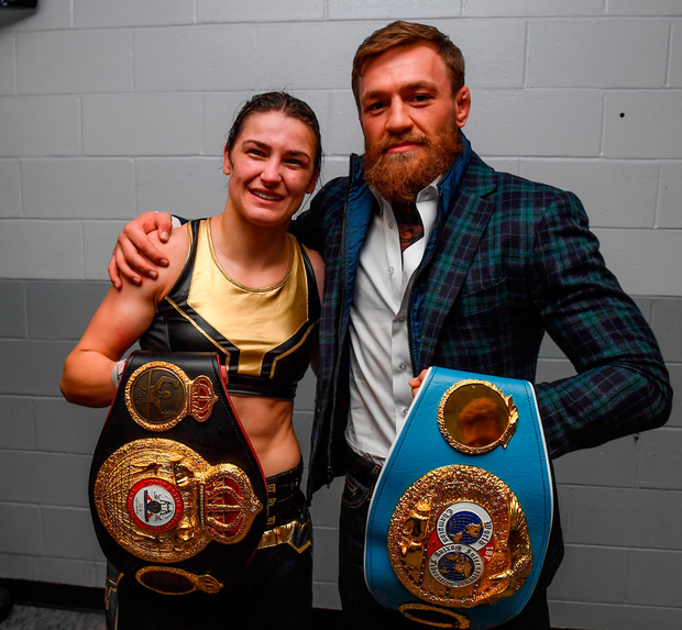 IRISH ICONS: Katie Taylor with Conor McGregor after her victory Pic: Sportsfile