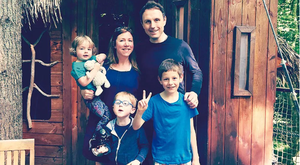Georgina Fuller with children Jemima, Edward and Charlie, and husband Dominic