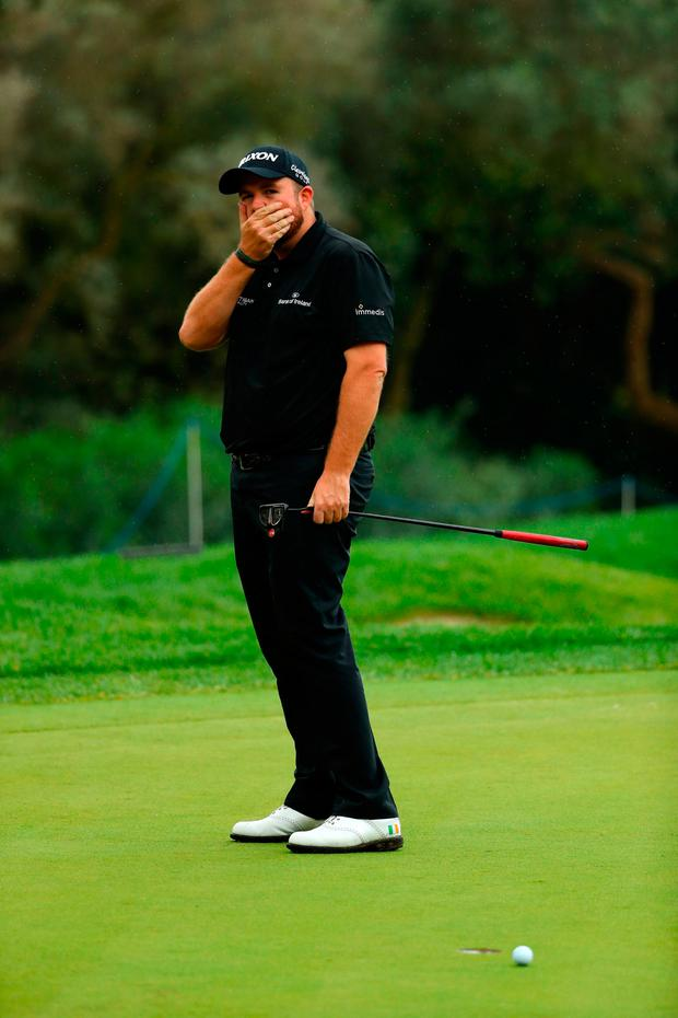 CADIZ, SPAIN - OCTOBER 22: Shane Lowry reacts after a double bogey at the 15th in the final round of the Andalucia Valderrama Masters. (Photo by Warren Little/Getty Images)