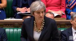 Prime Minister Theresa May making a statement in the House of Commons in London about the European Council summit Photo credit: PA Wire