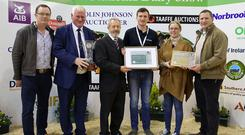 The presentation of the Overall Winner of the Carbery sponsored National Dairy Innovation Award 2018 to Herdwatch include Denis Lehane, Judge, John Kirby, NDS Show Director, Sean Kelly MEP, Gearoid Kenny, Herdwatch, Paula Hynes, Judge and Alan Jagoe, Judge at the National Dairy Show, Green Glens Arena, Millstreet, Co. Cork.