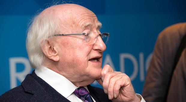President Higgins has changed his story as to why he flew to Belfast last May to give a lecture at Queen's University. Photo: Tony Gavin