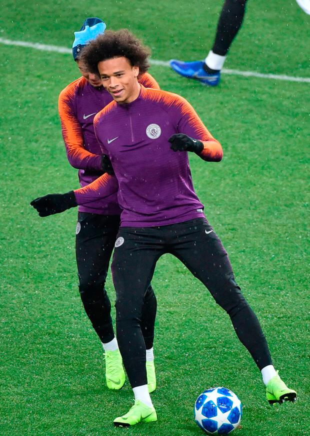 Manchester City's Leroy Sane during their training session at the Metallist Stadium in Kharkiv ahead of tonight's game with Shakhtar Donetsk. Photo: AFP/Getty Images