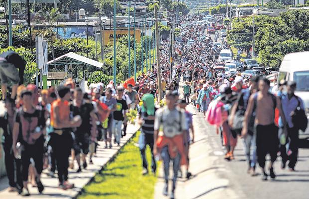 Desperate: Central American migrants on their way towards the US border, in Tapachula, Mexico. Photo: Reuters