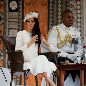 Prince Harry, Duke of Sussex (not in picture) and Meghan, Duchess of Sussex attend welcome ceremony in Albert Park on October 23, 2018 in Suva, Fiji