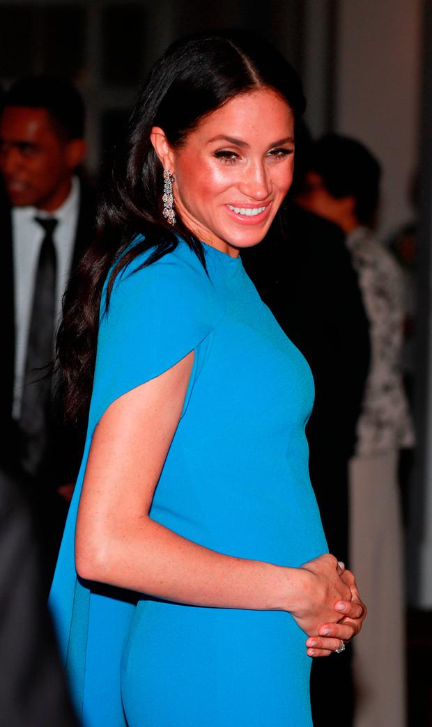 Meghan, Duchess of Sussex arrives for the State dinner on October 23, 2018 in Suva, Fiji