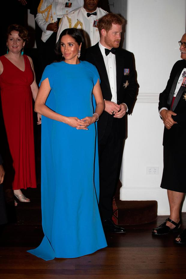 Prince Harry, Duke of Sussex and Meghan, Duchess of Sussex arrive for the State dinner on October 23, 2018 in Suva, Fiji