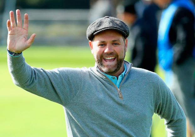 Brian McFadden celebrates during practice prior to the 2017 Alfred Dunhill Links Championship at The Old Course on October 3, 2017 in St Andrews, Scotland. (Photo by Warren Little/Getty Images)