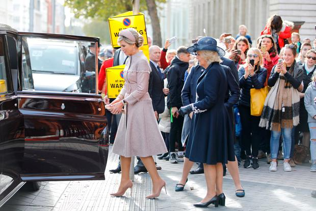 Queen Maxima of the Netherlands and Camilla, Duchess of Cornwall leave The Dutch Ambassadors Residence on October 23, 2018 in London, United Kingdom