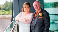 Mick Foster and Moyra Fraser tied the knot on the balcony of the bridal suite at the Hodson Bay Hotel in September