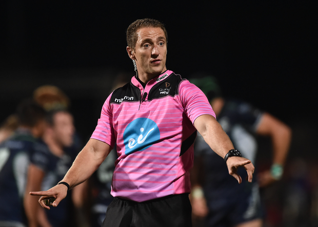 5 October 2018; Referee Andrew Brace during the Guinness PRO14 Round 6 match between Ulster and Connacht at Kingspan Stadium, in Belfast. Photo by Oliver McVeigh/Sportsfile