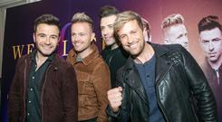 Westlife: Shane Filan,Nicky Byrne,Mark Feehilly and Kian Egan pictured in the Intercontinental Hotel launching their comeback tour.