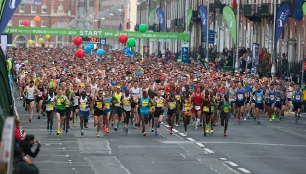 Runners start the Dublin City Marathon