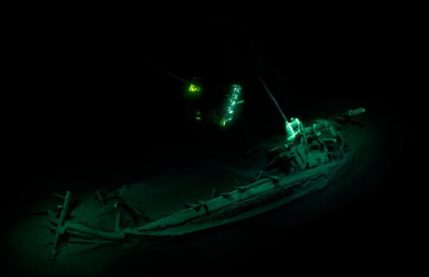 The ship remained completely intact after being buried in the silty, oxygen-free sediment of the seabed for more than 2,400 years. Photo credit: Black Sea Maritime Archaeology Project/PA Wire