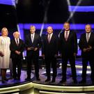 Presidential election candidates with presenter David McCullagh at the RTÉ Prime Time Presidential Debate JULIEN BEHAL PHOTOGRAPHY