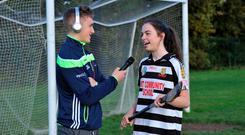 Jason Donoghue interviews player Caoimhe Cahill at Gort Community School as students take part in the GAA Future Leaders programme. Photo: Ray Ryan
