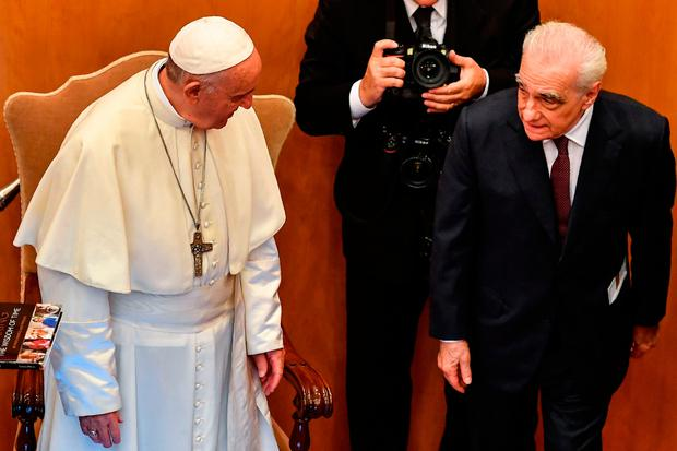 Greetings: Pope Francis meets US film director Martin Scorsese during the launch of the pontiff's book in Rome. Photo: AFP
