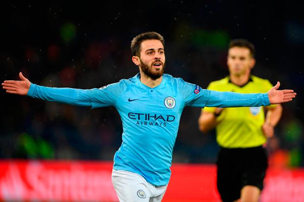 KHARKOV, UKRAINE - OCTOBER 23: Bernardo Silva of Manchester City celebrates after scoring his team's third goal during the Group F match of the UEFA Champions League between FC Shakhtar Donetsk and Manchester City at Metalist Stadium on October 23, 2018 in Kharkov, Ukraine. (Photo by Mike Hewitt/Getty Images)